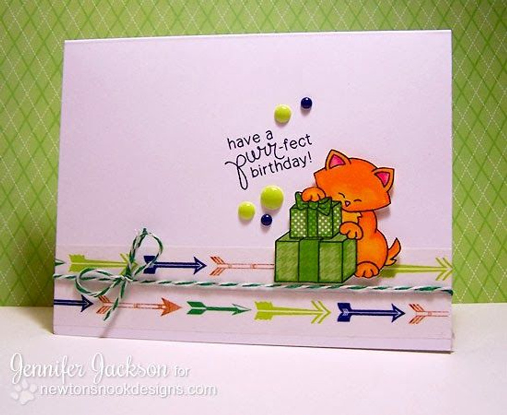 Cat Birthday card | Newton's Birthday Bash Cat stamp set by Newton's Nook Designs.