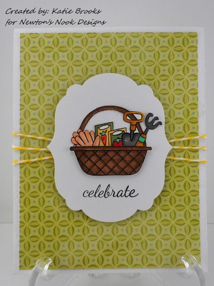 Celebration Garden Basket Card | Basket of Wishes stamp set by Newton's Nook Designs