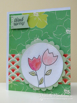 Easter Tulip Card | Easter Scramble stamp set by Newton's Nook Designs.