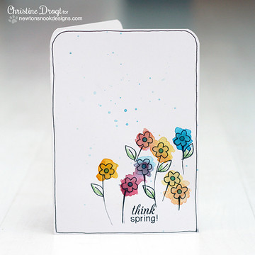 Spring Flower Card | Easter Scramble stamp set by Newton's Nook Designs.