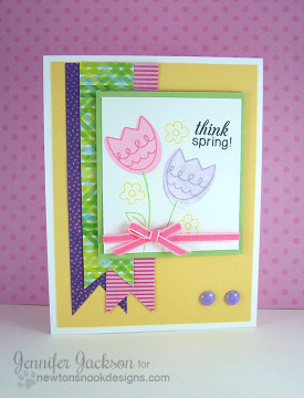 Think Spring Tulip Card | Easter Scramble stamp set by Newton's Nook Designs.