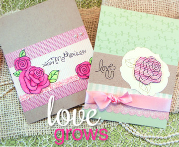 Mother's Day Rose Cards | Love Grows stamp set by Newton's Nook Designs