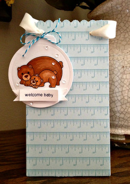 Bear and cub welcome baby card  | Wild Child stamp set by Newton's Nook Designs