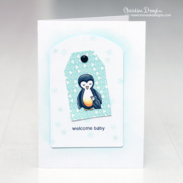 Penguin and chick welcome baby card  | Wild Child stamp set by Newton's Nook Designs