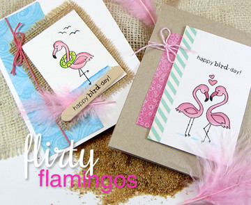 Flamingo Birthday and Love Cards | Flirty Flamingos stamp set by Newton's Nook Designs