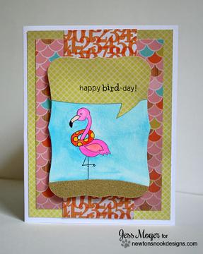 Tropical flamingo Birthday card   Flirty Flamingos stamp set by Newton's Nook Designs