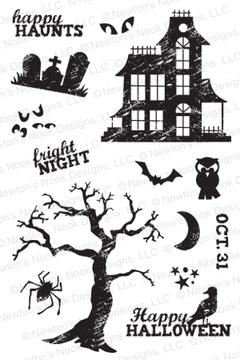 Spooky Street | 4x6 photopolymer Stamp Set | Newton's Nook Designs