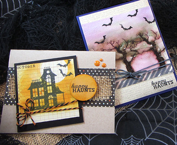 Haunted House and Spooky Tree Cards | Spooky Street | 4x6 photopolymer Stamp Set | Newton's Nook Designs