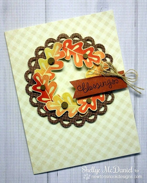 Fall Wreath Leaf Card | Falling into Autumn | 4x6 photopolymer Stamp Set | Newton's Nook Designs
