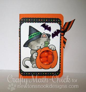 Halloween Cat and Pumpkin Tic Tac Holder | Newton's Perfect Pumpkin | 3x4 photopolymer Stamp Set | Newton's Nook Designs