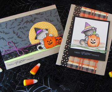 Halloween Cat and Pumpkin Card | Newton's Perfect Pumpkin || 3x4 photopolymer Stamp Set | Newton's Nook Designs