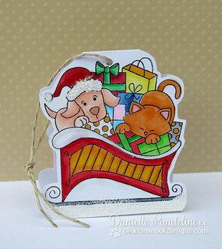 Dog and Cat Paper ornament | Christmas Delivery | 3x4 photopolymer Stamp Set | Newton's Nook Designs