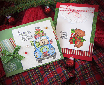 Bear with gifts Christmas Card | Winston's Home For Christmas | 4x6 photopolymer Stamp Set | Newton's Nook Designs