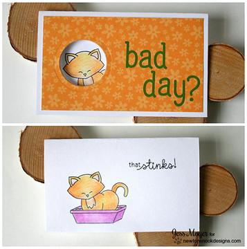 Naughty Cat Card | Naughty Newton | 4x6 photopolymer Stamp Set | Newton's Nook Designs