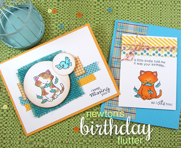 Newton's Birthday Flutter   3x4 Photopolymer Stamp Set   Newton's Nook Designs