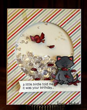 Birthday Cat and Bird Card   Newton's Birthday Flutter   3x4 photopolymer Stamp Set   Newton's Nook Designs