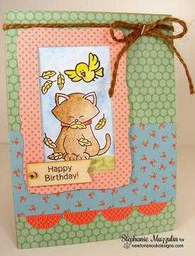 Birthday Cat Card   Newton's Birthday Flutter   3x4 photopolymer Stamp Set   Newton's Nook Designs