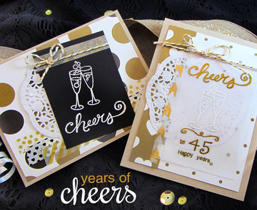 Champagne Cheers Cards | Years of Cheers | 3x4 photopolymer Stamp Set | Newton's Nook Designs