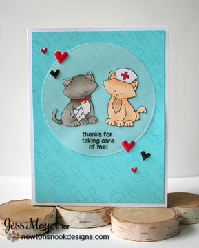 Thank You Cat Card | Newton's Sick Day | 4x6 photopolymer Stamp Set | Newton's Nook Designs