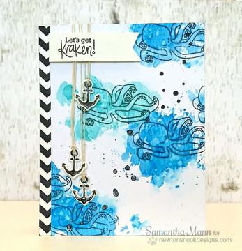 Kraken Friendship Card | Message In A Bottle Stamp Set by Newton's Nook Designs
