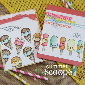 Ice Cream Friendship/Birthday Cards | Summer Scoops Stamp Set by Newton's Nook Designs