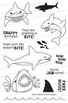 Shark Bites | 4x6 Photopolymer Stamp Set | Newton's Nook Designs