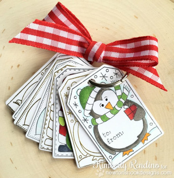 Set of Holiday Tags | Jolly Tags | 4x6 Photopolymer Stamp Set | Newton's Nook Designs