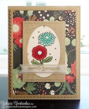 Zinnia Flower card using Garden Starter Stamp Set by Newton's Nook Designs