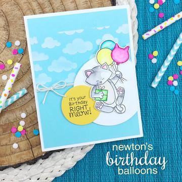 Newton's Birthday Balloons Stamp Set ©2018 Newton's Nook Designs