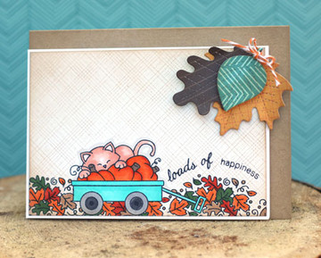 Fall Card with kitty in Wagon  | Wagon of Wishes Stamp Set by Newton's Nook Designs.