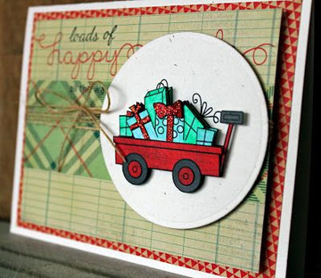 Wagon of gifts Card | Wagon of Wishes Stamp Set by Newton's Nook Designs.