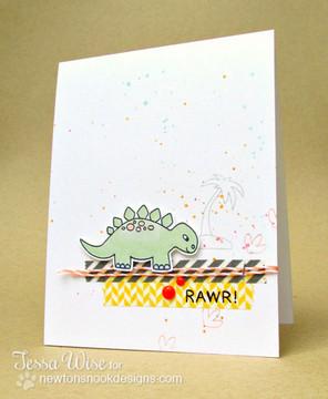 Dinosaur Card using Prehistoric Pals Stamp Set by Newton's Nook Designs
