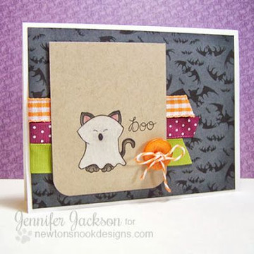 Ghost Cat Costume Halloween Card  |  Boo Crew Stamp Set by Newton's Nook Designs