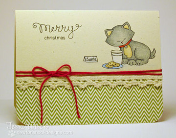 Cat with Cookies and Milk Card | Newton's Holiday Mischief Stamp Set by Newton's Nook Designs
