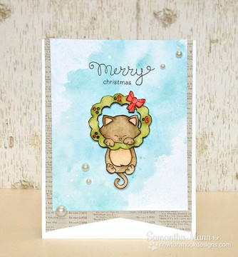 Kitty and Christmas Wreath Watercolor Card  | Newton's Holiday Mischief Stamp Set by Newton's Nook Designs