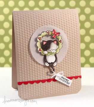 Kitty and Christmas Wreath  | Newton's Holiday Mischief Stamp Set by Newton's Nook Designs