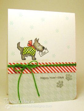 Dog Mailing letter to Santa Card using Canine Christmas Stamp Set by Newton's Nook Designs