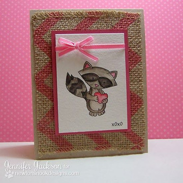 Raccoon Love Card | Sweetheart Tails Stamp Set by Newton's Nook Designs