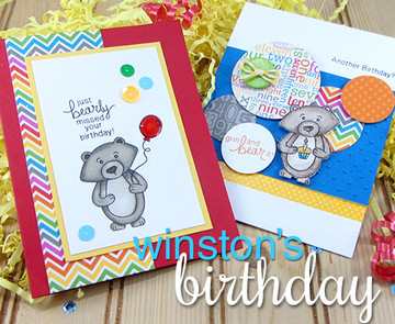 Birthday cards with bear and balloons  | Wintston's Birthday Bear stamp set by Newton's Nook Designs