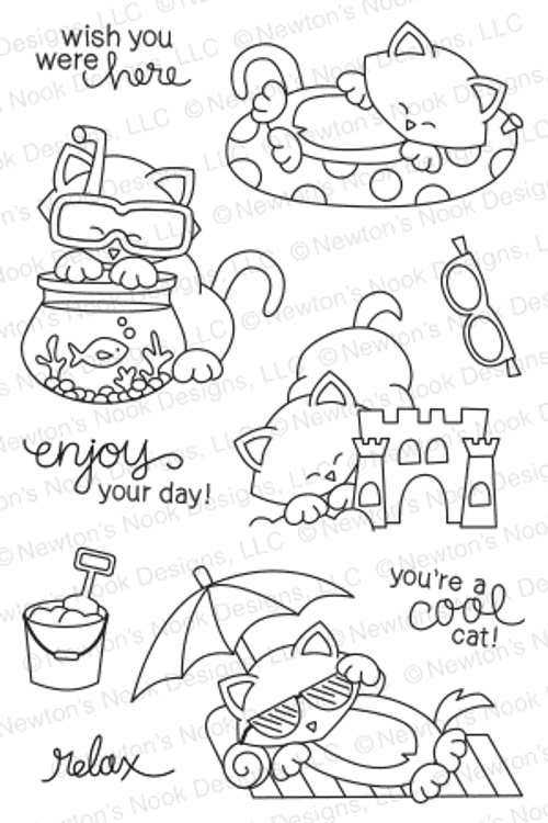 Newton's Summer Vacation | 4x6 photopolymer Stamp Set | Newton's Nook Designs
