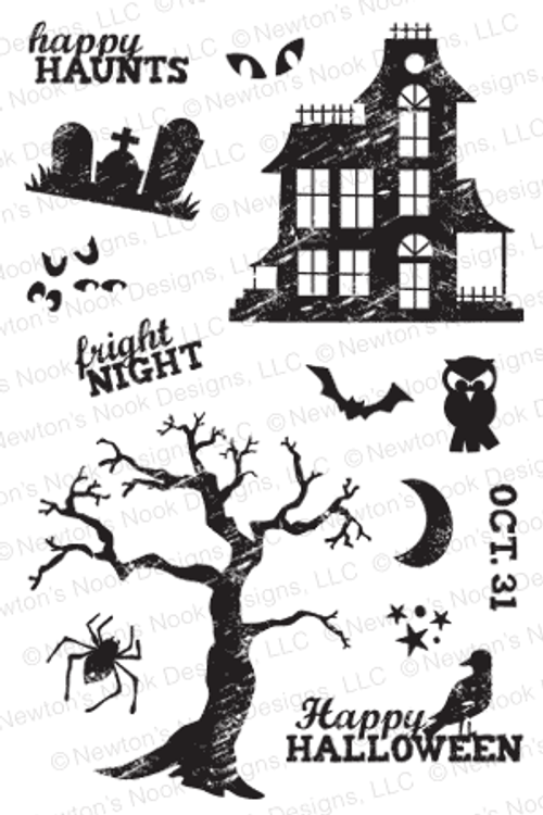 Spooky Street | 4x6 photopolymer Stamp Set | Newton's Nook Designs