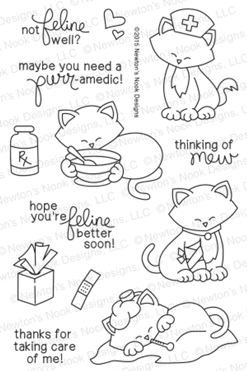 Newton's Sick Day | 4x6 Photopolymer Stamp Set | Newton's Nook Designs