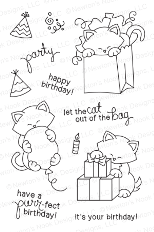 Newton's Birthday Bash - 4 x 6 photopolymer cat stamp set by Newton's Nook Designs.