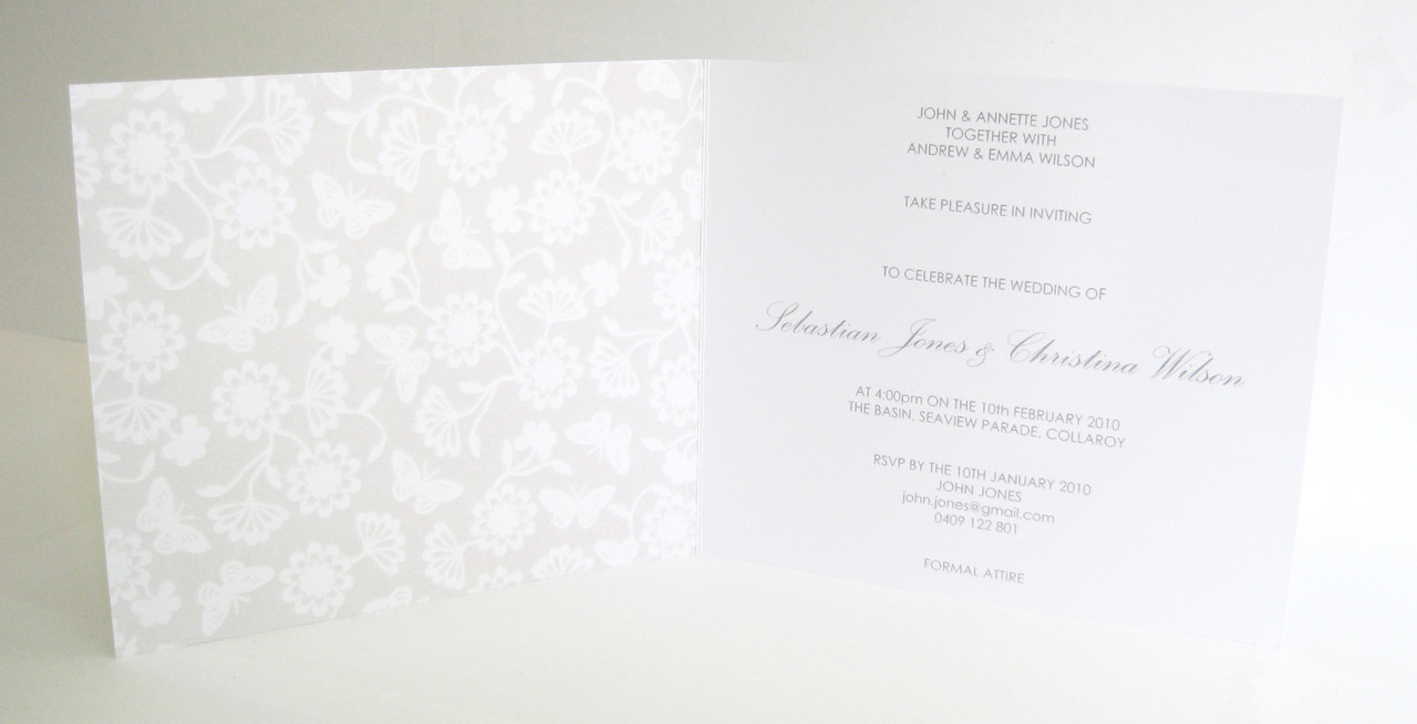 White & Grey - Card Style Wedding Invitation