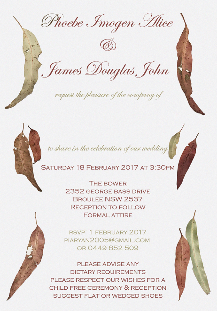 Gum Leaves Wedding Invitation