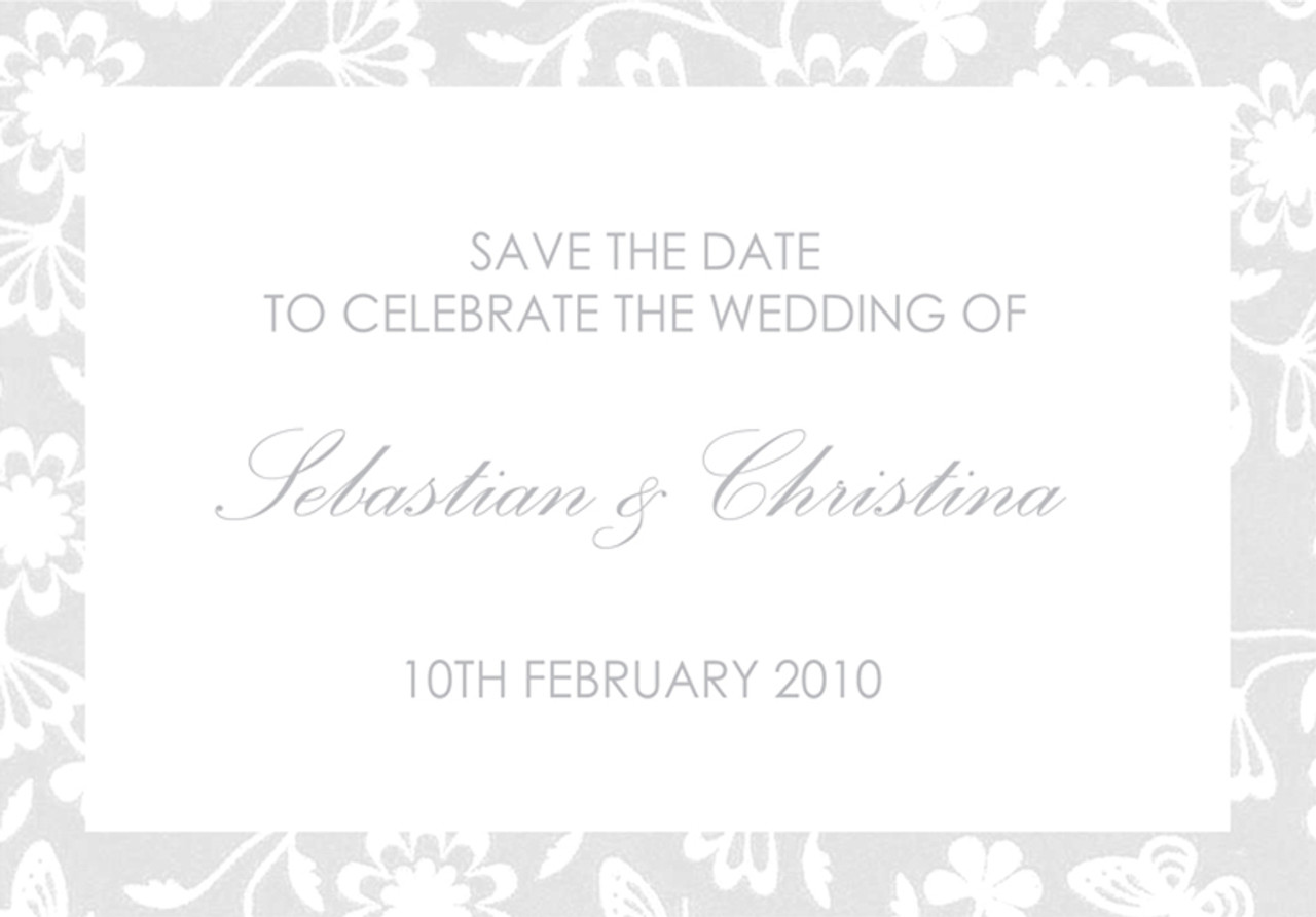Save the Date - to match White & Grey wedding invitation