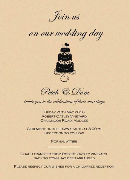 Wedding Cake Wedding Invitation