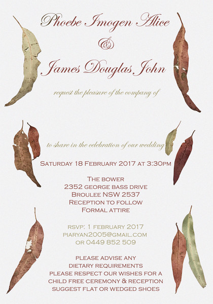 Gum Leaves Wedding Invitation