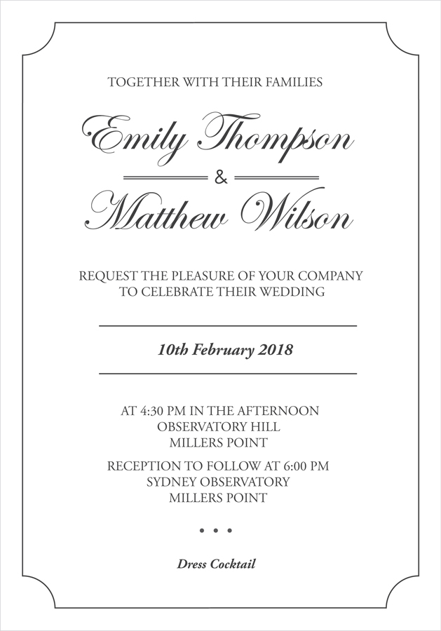 Classic Wedding Invitation - Wedding Invitations by 8cards