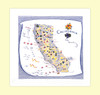 California, Blue,  Map Towel